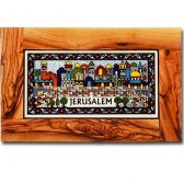 Olive wood framed rectangle Armenian tile wall hanging - Jerusalem