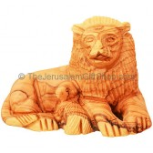 'The Lion and The Lamb' in Olive Wood