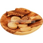 Loaves and Fishes on Olive Wood Plate