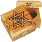 Small Olive Wood Star of David with Menorah Box