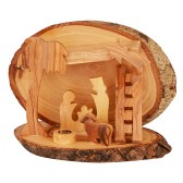 Olive Wood Mini Nativity Stable Scene Ornament from Bethlehem l Ladder