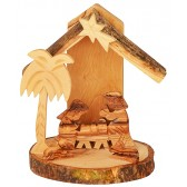 Olive Wood Mini Nativity Stable Scene Ornament from Bethlehem l Round