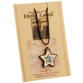 Olive Wood with Mother of Pearl and Abalone Two-Tone 'Star of Bethlehem' inlay Necklace - Made in the Holy Land