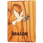 Fridge Magnet - Olive Wood with Mother of Pearl 'Shalom' Dove of Peace Inlay - Made in Bethlehem