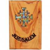 Fridge Magnet - Olive Wood with Mother of Pearl Abalone 'Jerusalem Cross' Inlay - Made in Bethlehem