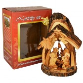 Olive Wood Nativity Scene Ornament from Bethlehem with Bell - Natural Bark Roof - 6 Inch - Boxed