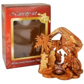 Olive Wood Nativity Scene Ornament from Bethlehem | Star of Bethlehem with Incense - 4.5 Inch - Boxed