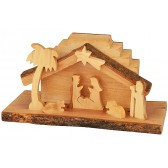 Olive Wood Nativity Scene Ornament from the Holy Land l Staggered Step - Natural Roof