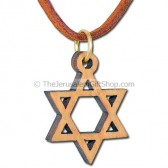 Olive Wood Star of David Pendant