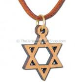 Olive Wood Star of David Pendant