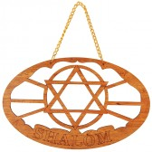 'Shalom' with 'Star of David' Olive Wood Wall Hanging from the Holy Land
