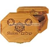 Hexagon shaped Olive Wood Box - Shalom Star of David