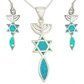Grafted in Opal Messianic Pendant and Earring set - Sterling Silver
