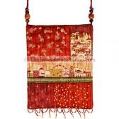 Patchwork Silk Embroidered Bag - Jerusalem - Red
