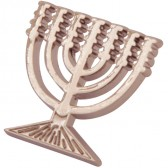 Pewter Menorah Lapel Pin Badge