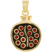 Goldfill Split Pomegranate with Red Garnet Pendant by Marina