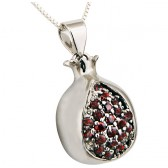 Rhodium Pomegranate Pendant with Red Garnet by Marina