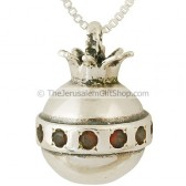 Pomegranate Pendant Silver and Garnet