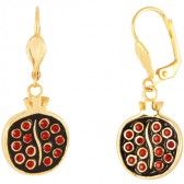 Goldfill Pomegranate with Red Garnet Earrings by Marina