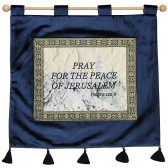 'Pray for the peace of Jerusalem' - Psalm 122:6 - Wall Hanging - Tower of David - Blue