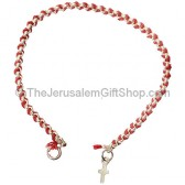 Red Cord with Silver Cross Bracelet