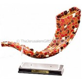 Decorative Mosaic Shofar on Stand - Red