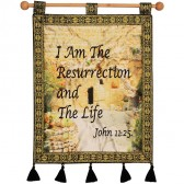 I AM THE RESURRECTION AND THE LIFE (John 11:25) Garden Tomb Jerusalem Wall Hanging - Blue