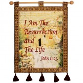I AM THE RESURRECTION AND THE LIFE (John 11:25) Garden Tomb Jerusalem Wall Hanging - Burgundy