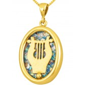 Roman Glass 'King David Harp - Lyre' Pendant - 14k Gold - Made in the Holy Land