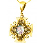'Jerusalem Cross' Pendant - Roman Glass and 14k Gold - Made in the Holy Land