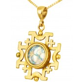'Jerusalem Cross' Cut-Out Pendant - Roman Glass and 14k Gold - Made in the Holy Land