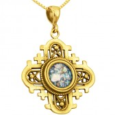 'Jerusalem Cross' Cut-Out Rounded Pendant - Roman Glass and 14k Gold - Made in the Holy Land