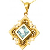 'Jerusalem Cross' Squared Pendant - Roman Glass and 14k Gold Pendant - Made in the Holy Land