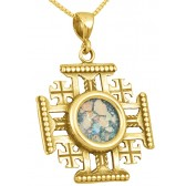 'Jerusalem Cross' in 14k Gold with Genuine Roman Glass Center Pendant