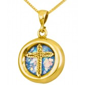 Roman Glass 'Christian Cross' Round Pendant - 14k Gold - Made in the Holy Land
