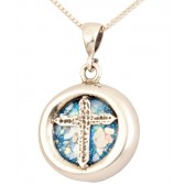 Roman Glass 'Christian Cross' Round Pendant - 925 Sterling Silver - Made in the Holy Land