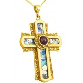 Roman Glass 'Rugged Cross' with Red Crystal Pendant - 14k Gold - Made in the Holy Land