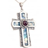 Roman Glass 'Rugged Cross' with Red Crystal Pendant - 925 Sterling Silver - Made in the Holy Land