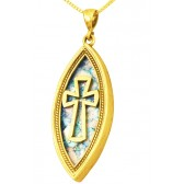 Roman Glass 'Cross' Ellipse Pendant - 14k Gold - Made in the Holy Land