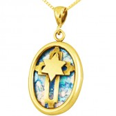 Roman Glass Oval 'Star of David with Cross' Messianic Pendant - 14k Gold - Made in the Holy Land