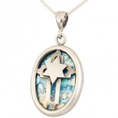 Roman Glass Oval 'Star of David with Cross' Messianic Pendant - Sterling Silver - Made in the Holy Land