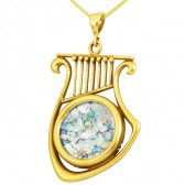 Roman Glass 'King David Harp' 14 karat Gold Pendant