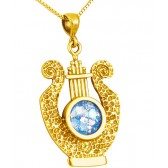 Roman Glass 'King David Harp - Lyre' Pendant - Hammered Finish - 14k Gold - Made in the Holy Land