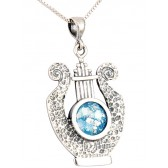 Roman Glass 'King David Harp - Lyre' Pendant - Hammered Finish - Sterling Silver - Made in the Holy Land