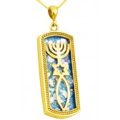 Roman Glass 'Grafted In' Messianic Pendant - 14k Gold - Oblong - Made in Israel