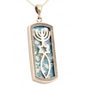 Roman Glass 'Grafted In' Messianic Pendant - 925 Sterling Silver - Oblong - Made in Israel