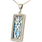 Roman Glass 'Grafted In' Messianic Pendant - Sterling Silver - Made in Israel