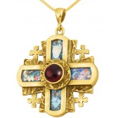 Roman Glass 'Jerusalem Cross' 5 Fold - Rugged Cross Pendant - 14k Gold - Red Crystal