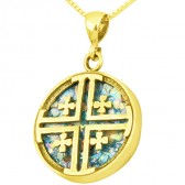 Roman Glass 'Jerusalem Cross' Circular Pendant - 14k Gold - Made in the Holy Land