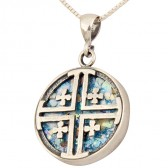 Roman Glass 'Jerusalem Cross' Circular Pendant - Sterling Silver - Made in the Holy Land